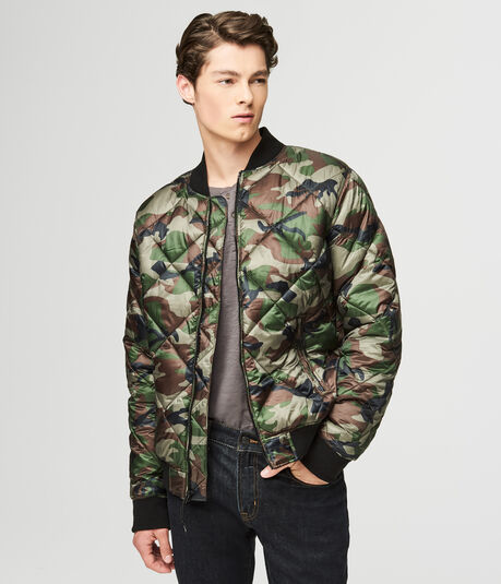 Camo Quilted Bomber Jacket