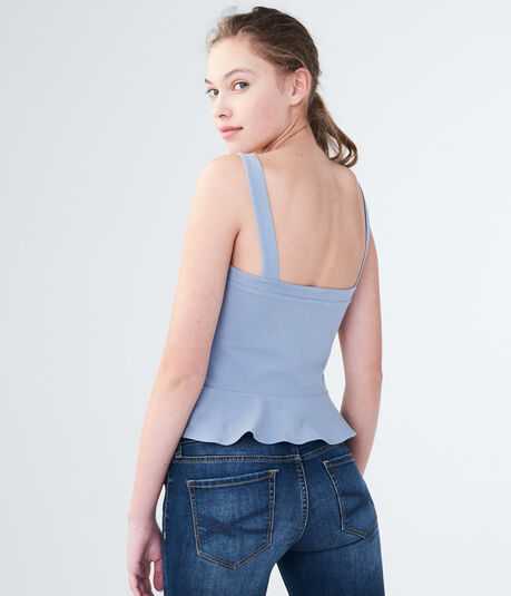 Embroidered Lace-Up Peplum Tank