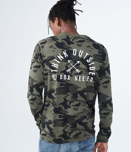 Long Sleeve Camo Think Outside Graphic Tee