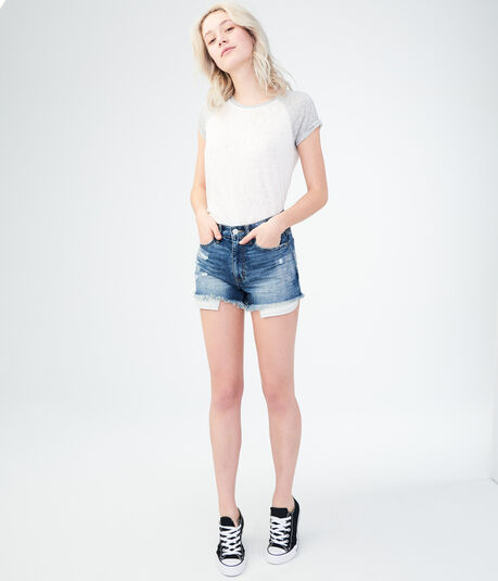 High-Waisted Medium Wash Cheeky Denim Shorts