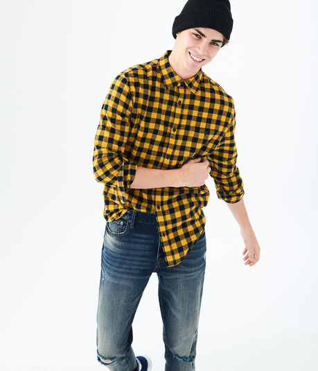 Long Sleeve Buffalo Plaid Flannel Woven Shirt