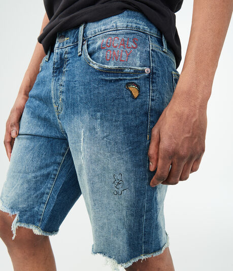Medium Wash Patches Stretch Denim Cutoff Shorts