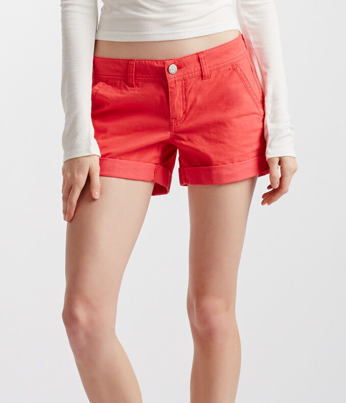 Color Wash Twill Midi Shorts