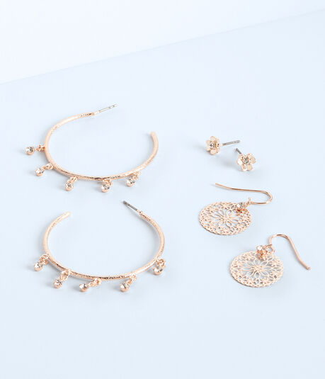 Embellished Hoop, Stud & Fish Hook Earring 3-Pack
