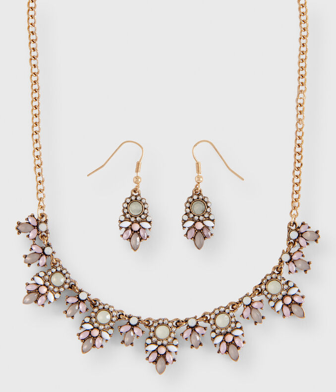 Floral Statement Short-Strand Necklace & Earring Set