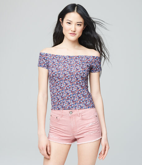 Cape Juby Floral Off The Shoulder Cropped Bodycon Tee