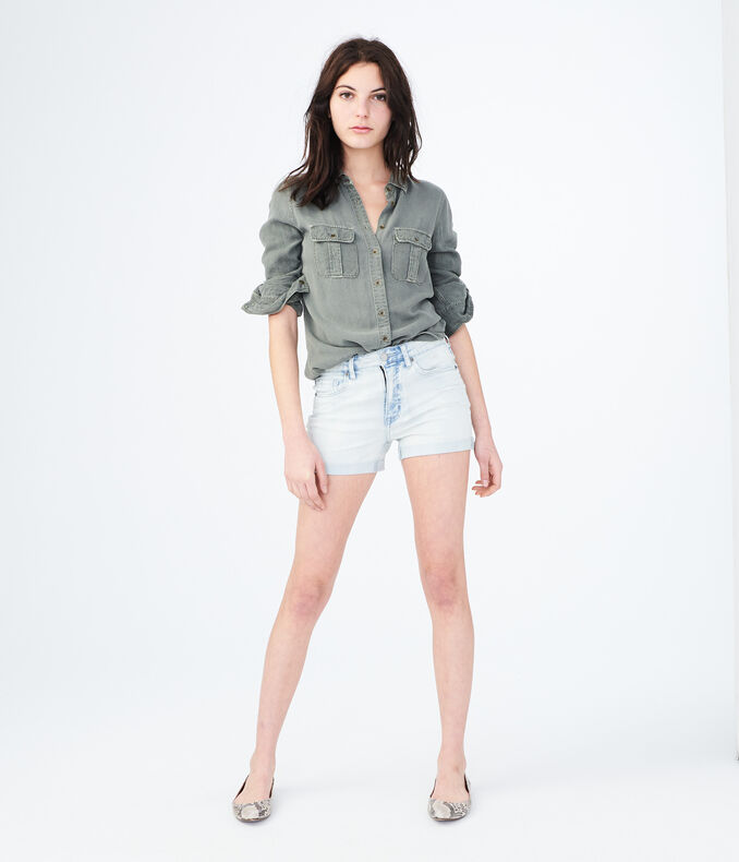 High-Waisted Light Wash Destroyed Denim Midi Shorts