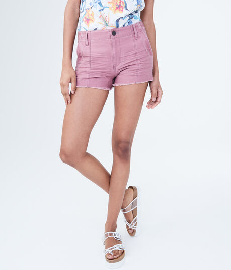 High-Waisted Twill Shorty Shorts