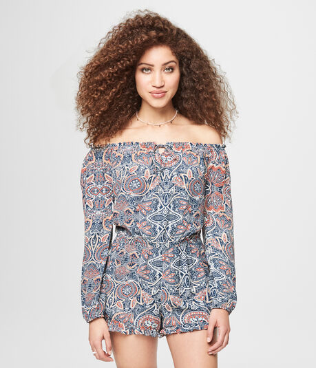 Paisley Print Off-The-Shoulder Romper