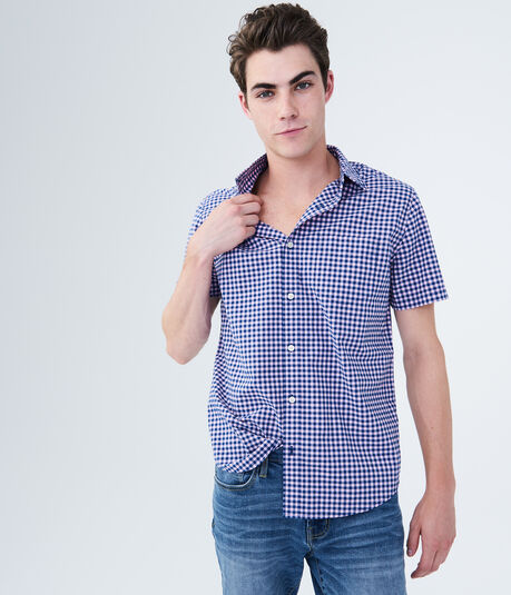 Two-Tone Gingham Woven Shirt