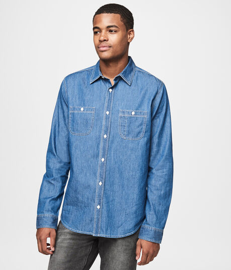 Long Sleeve Dark Wash Workwear Woven Shirt