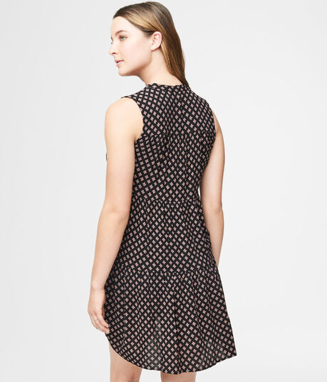 Geometric Print Tie-Neck Shift Dress