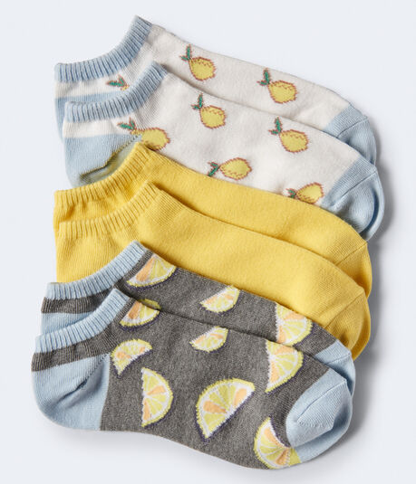 3-Pack Lemons, Solid & Lemon Slice Ankle Socks