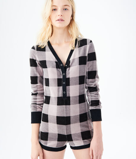 LLD Long Sleeve Plaid Sleep Romper