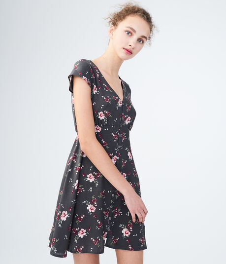Floral V-Neck Button-Front Shirt Dress