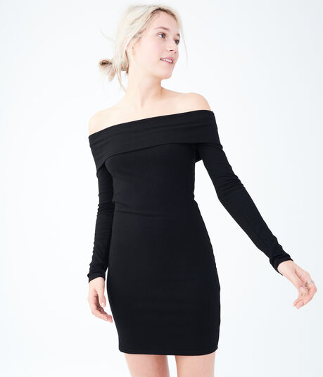 Solid Ribbed Off-The-Shoulder Dress