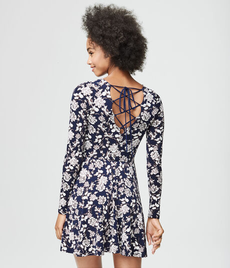 Floral V-Neck Lace-Up Fit & Flare Dress