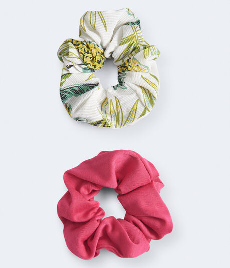 Palm & Solid Scrunchie 2-Pack
