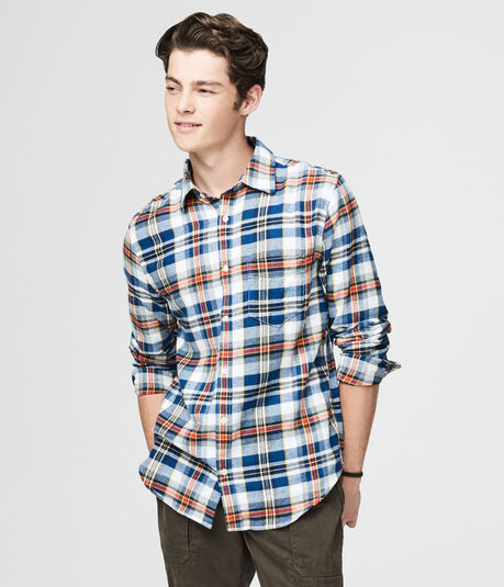 Long Sleeve Twill Plaid Woven Shirt