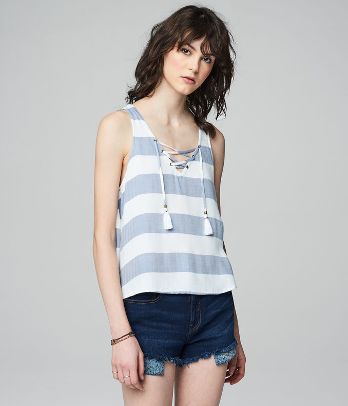 Prince & Fox Striped Lace Up Tank