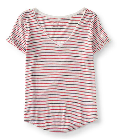 Prince & Fox Striped V-Neck Cambridge Tee