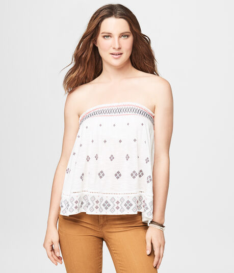 Cape Juby Geometric Strapless Top