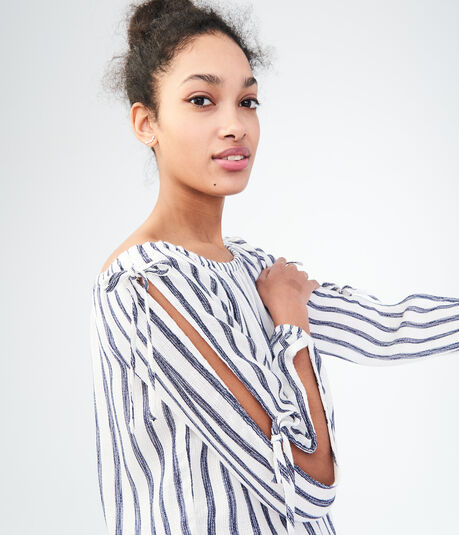 Long Sleeve Stripe Tied Off-The-Shoulder Top