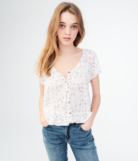 Floral Button-Front Peasant Top