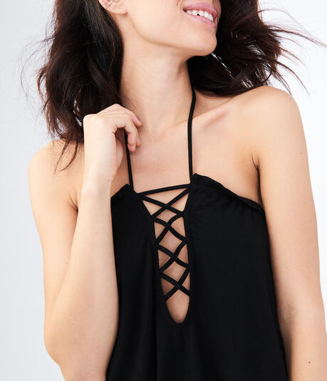 LLD Solid Lace-Up Halter Romper Cover-Up