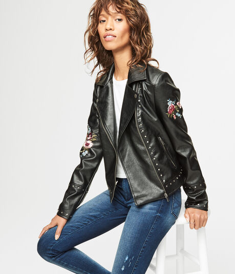 Embellished Faux Leather Moto Jacket