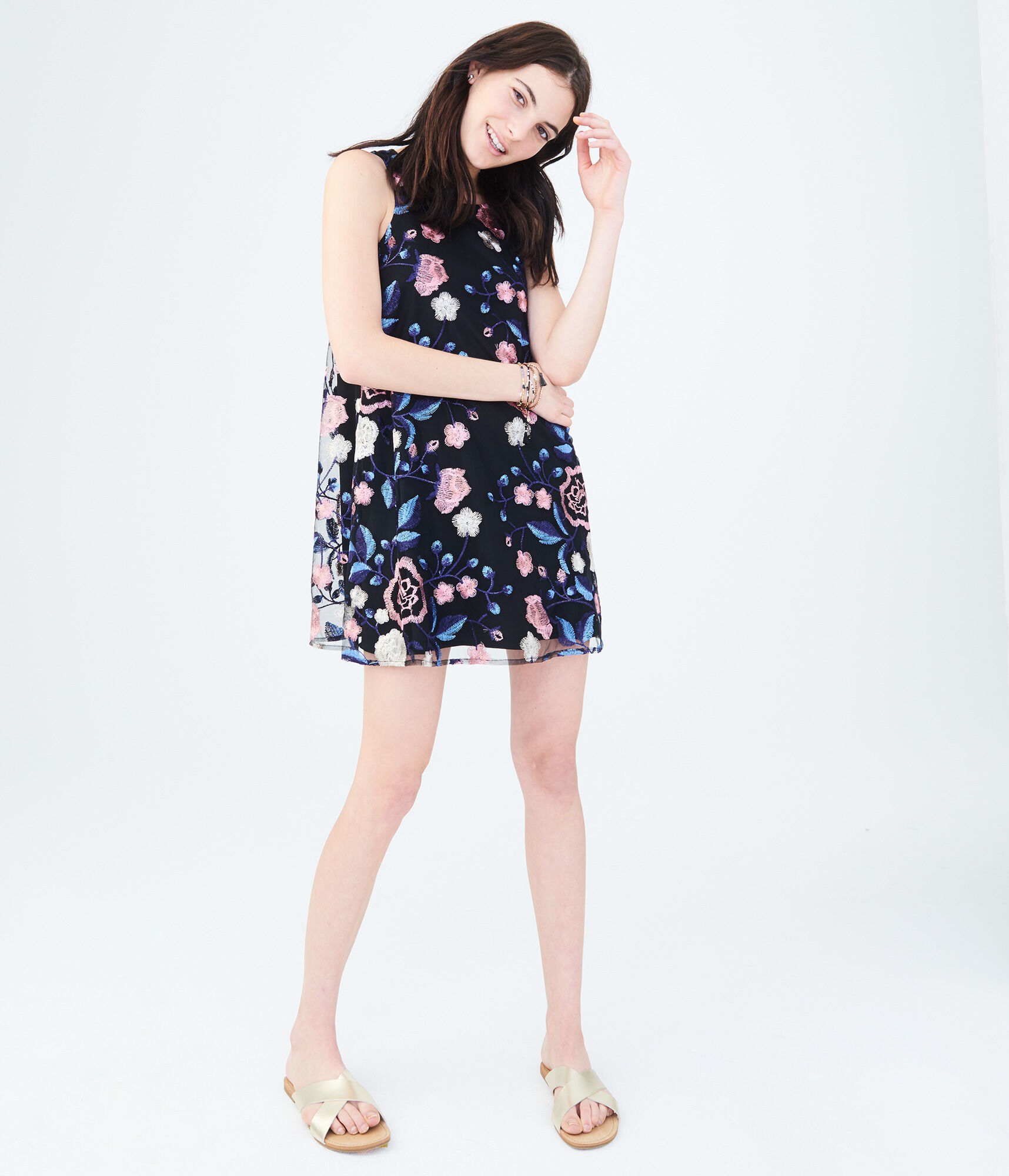 3a6dfa098374d Floral Embroidered Tie-Back Shift Dress zoom image
