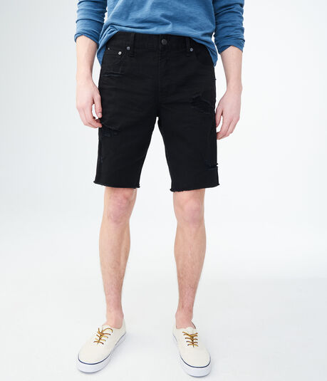 Black Wash Destroyed Stretch Denim Cutoff Shorts