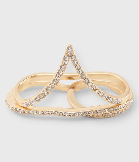 Rhinestone Double-Finger Ring 2-Pack