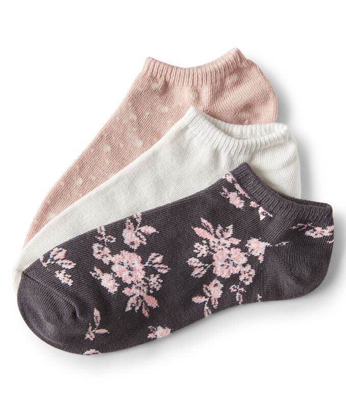 3-Pack Flower, Solid & Dot Ankle Socks