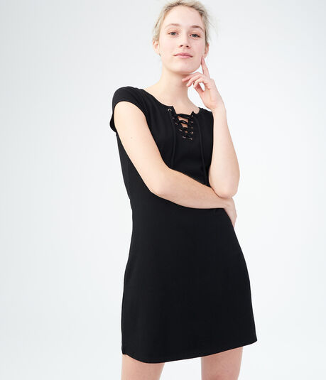 Solid Lace-Up Shirt Dress