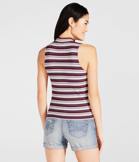 Striped Ribbed Mock-Neck Tank