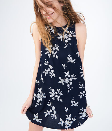Floral Tie-Back Embroidered Shift Dress