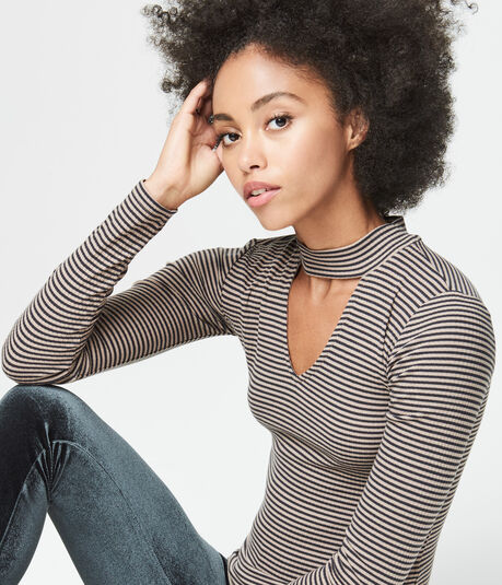 Long Sleeve Striped Keyhole Mock-Neck Top