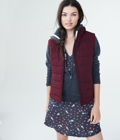 Solid Quilted Puffer Vest