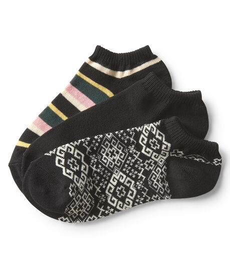 3-Pack Geo Motif, Solid & Striped Ankle Socks
