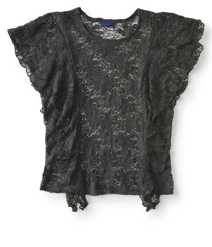 Sheer Veneer Ruffle Lace Top