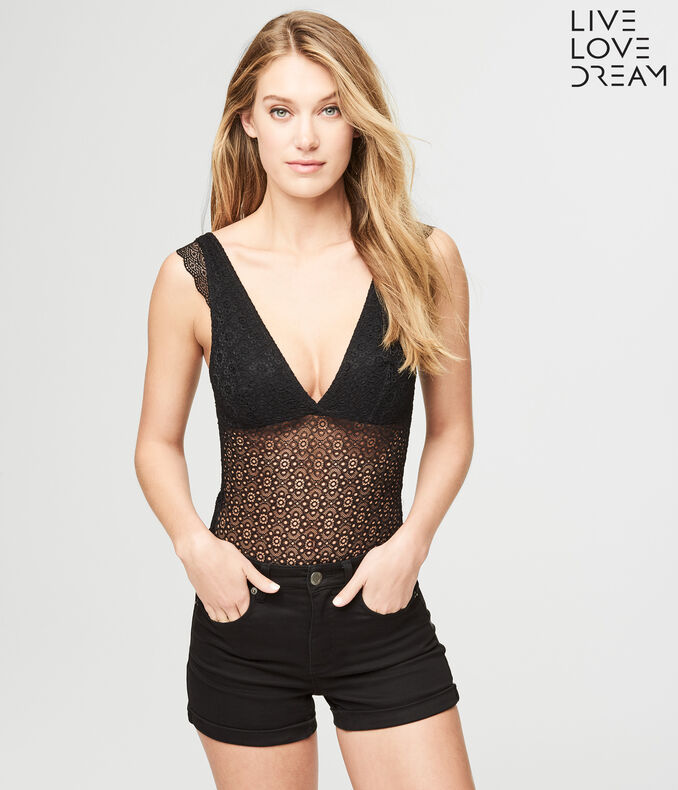 LLD Sheer Geo Lace Bodysuit