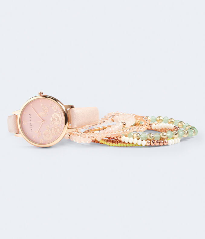 Faux Leather Floral Analog Watch & Bracelet Set