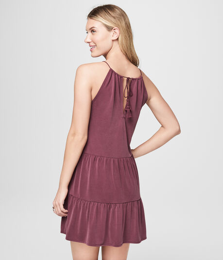 Solid Scoop-Neck Tiered Shift Dress