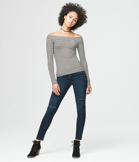 Long Sleeve Ribbed Stripe Boatneck Top