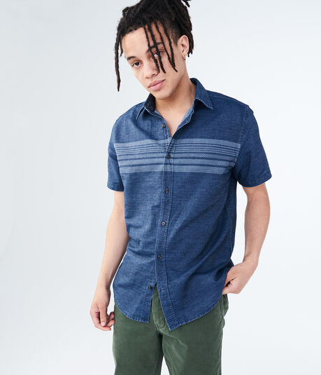 Chest Stripe Denim Woven Shirt