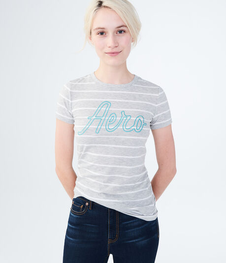 Striped Aero Script Graphic Tee