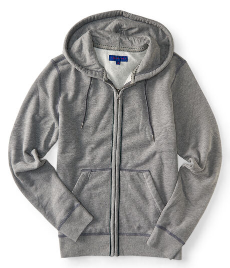 Heathered Piped Full-Zip Hoodie