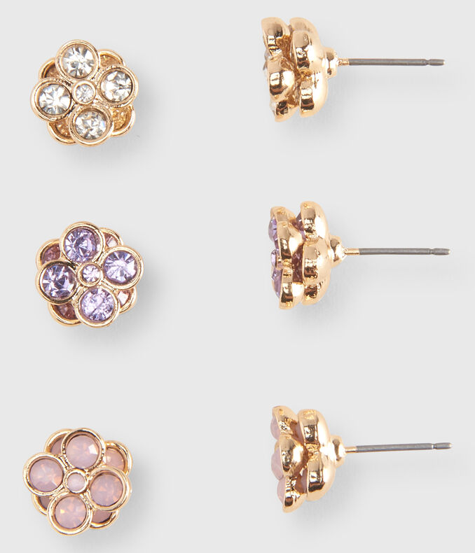 Colorful Flower Stud Earring 3-Pack
