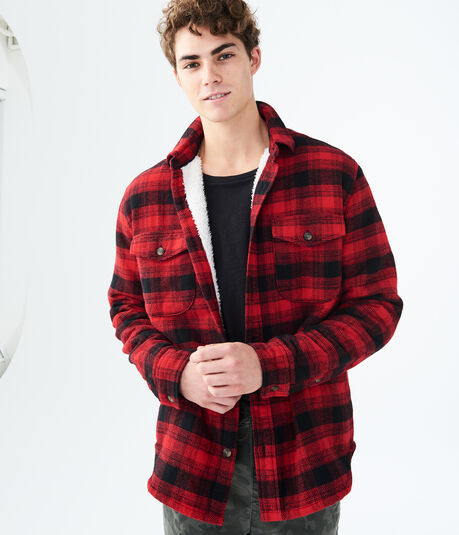 Plaid Sherpa-Lined Coat